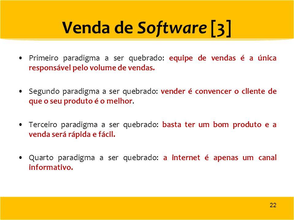 Venda de Software [3] Primeiro paradigma a ser quebrado: equipe de vendas é a única responsável pelo volume de vendas.